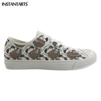INSTANTARTS Cartoon Sloth Pattern 3D Men Low Top Casual Shoes Spring Classic Vulcanize Canvas Sneakers for Boys Male Flat Shoes