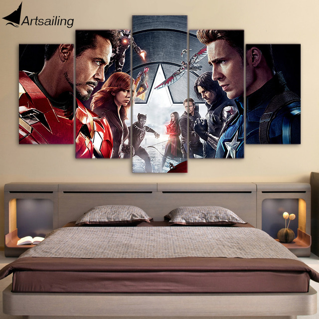 Hd Printed Captain America Civil War Painting Canvas Print Room