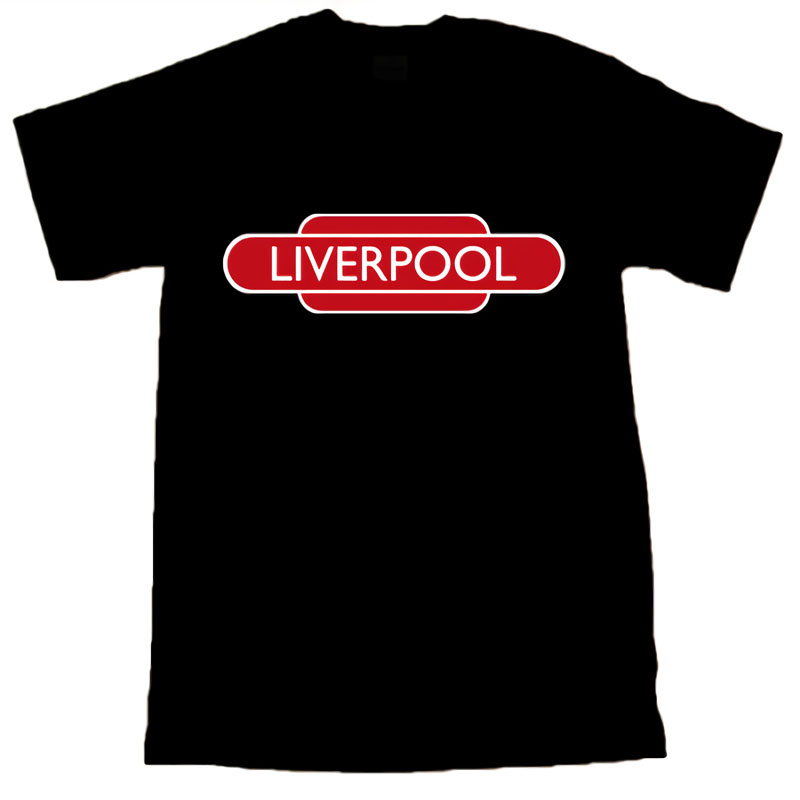 Liverpool Footballer Totemer Railway Sign Black T-SHIRT discout hot new fashion top free shipping world 2018 soccersing