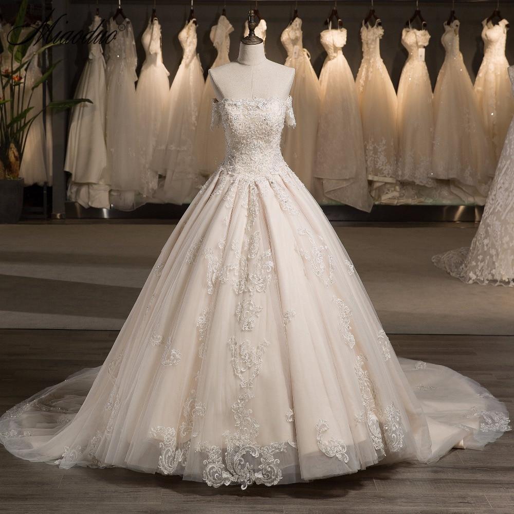 miaoduo robe de soiree 2018 Új érkezés esküvői ruha Champagne - Esküvői ruhák