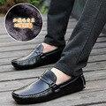 2016 Новые Зимние Ботинки Мужские Мокасины Из Натуральной Кожи Мужчины Квартиры Обувь Slip On Черный Повседневная Обувь Мокасины Мужчины Zapatos Hombre