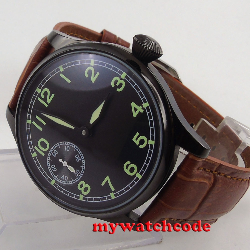 44MM parnis black dial luminous mark PVD case 6497 hand winding mens watch P687B 44mm black sterile dial green marks relojes 6497 mens mechanical hand winding watch luminous armbanduhr cm164bk