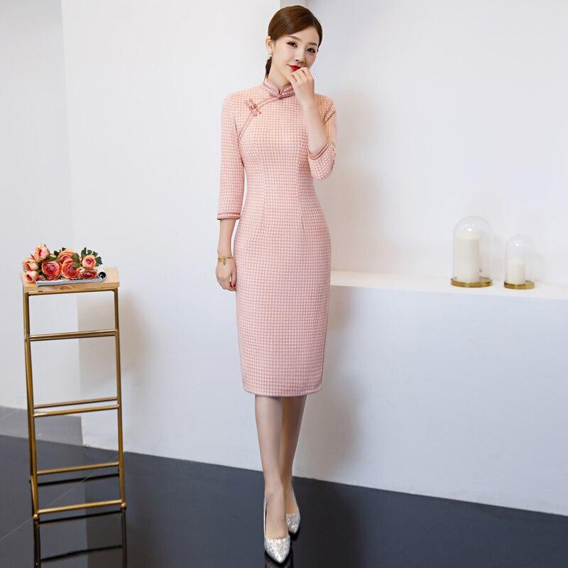 2019 nouvelle mode rose printemps Cheongsam chinois femmes Qipao robe de soirée S M L XL XXL 3XL