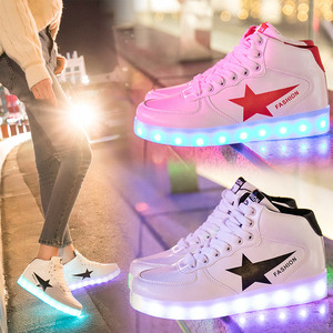 Image 2 - Size 35 44 High Top LED Shoes USB Charging Light up Shoes for Men&Women PU Leather Luminous Glowing Shoe Krasovki with Backlight