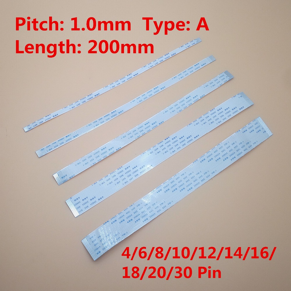 10pcs FFC FPC Ribbon Flexible Flat Cable Pitch 1.0MM 200MM A-Type FFC Wire 4/6/8/10/12/14/16/18/20/22/24/30 Pin