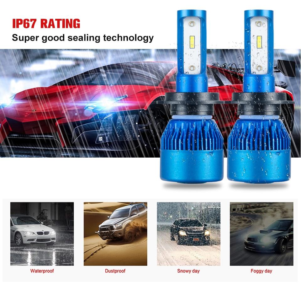Foxcncar H7 H4 H11 H1 LED Car Headlights Bulb mini Lamp 9005 9006 COB CSP Chip 12V 10000lm 72W 6500K 24V Auto moto truks IP67 (5)