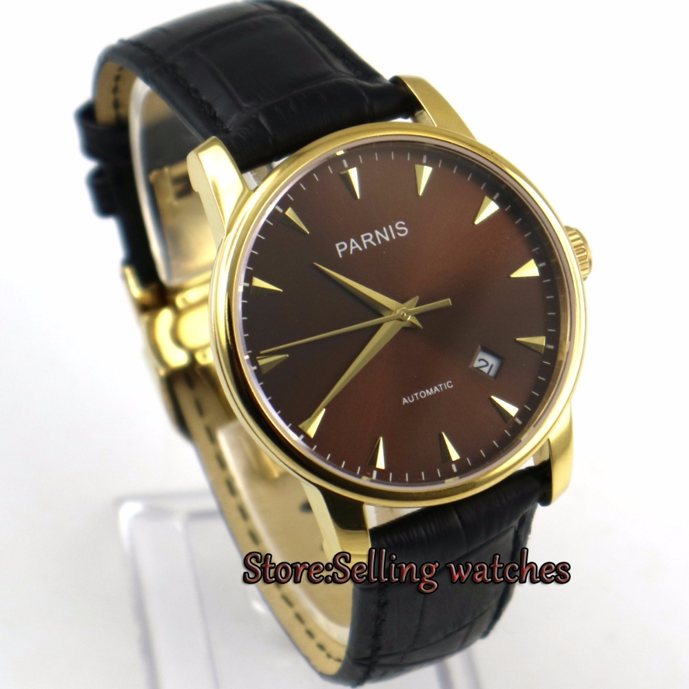 38mm parnis coffee dial golden plated case miyota automatic mens wrist watch image