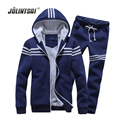 Jolintsai 2017 Fleece Sportwear Men Sweat Homme Men Cardigan Sweatershirt+Sweatpants Winter Jacket Hoodies Tracksuit Men Set