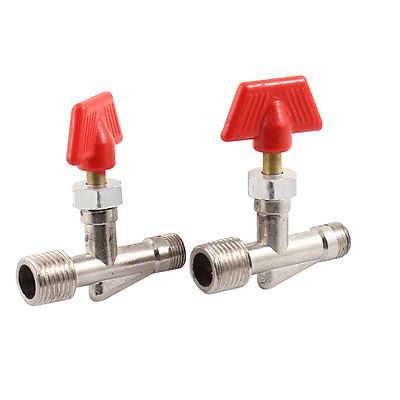 2 x Air Compressor Tee Handle 33/64 to 25/64 Thread Manual Valve Switch m m 13mm to 9mm male thread air compressor inline manual valve