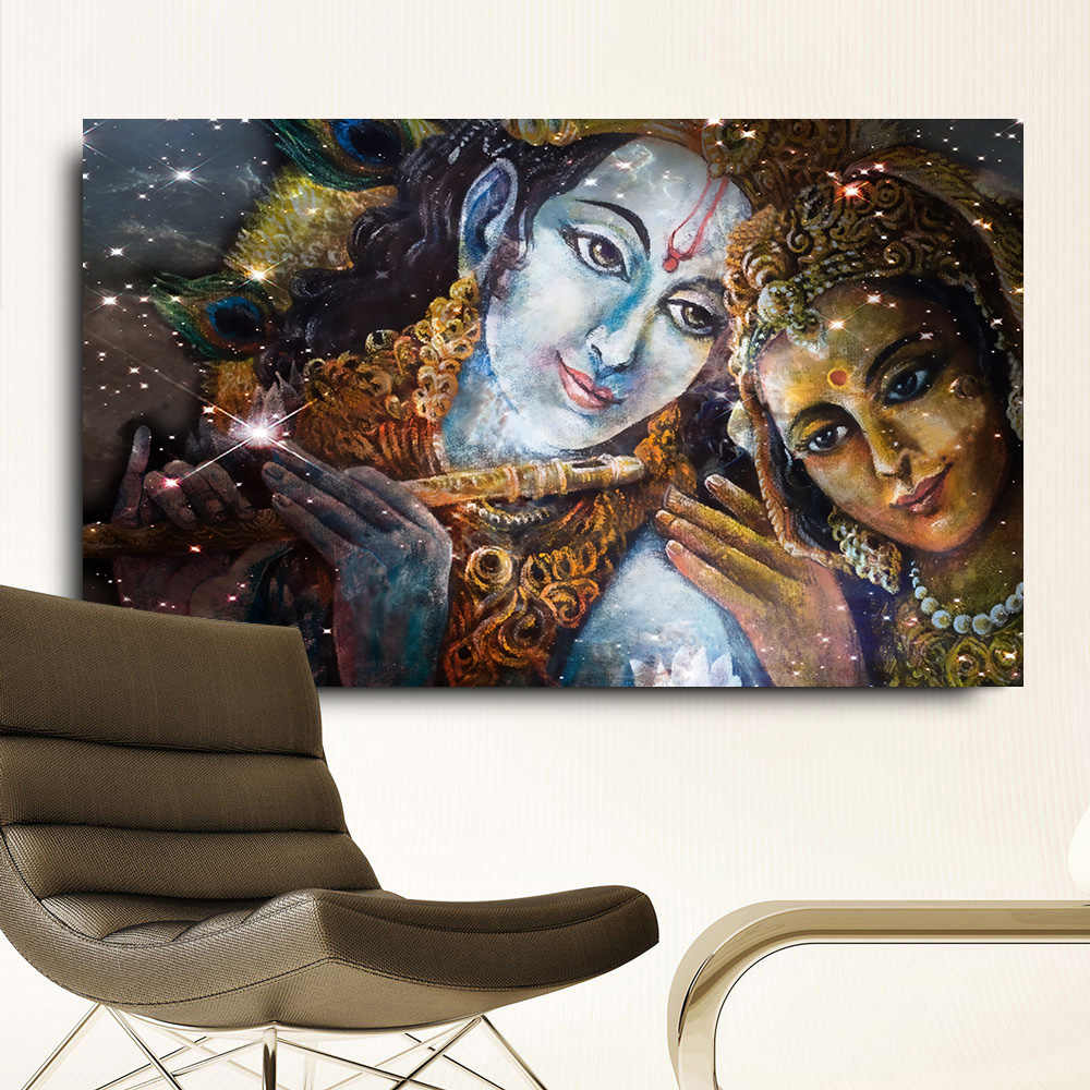 Embelish Large Size Krishna And Radha Buddha HD Canvas Oil Paintings For Living Room Wall Art Pictures Living Room Framed Poster