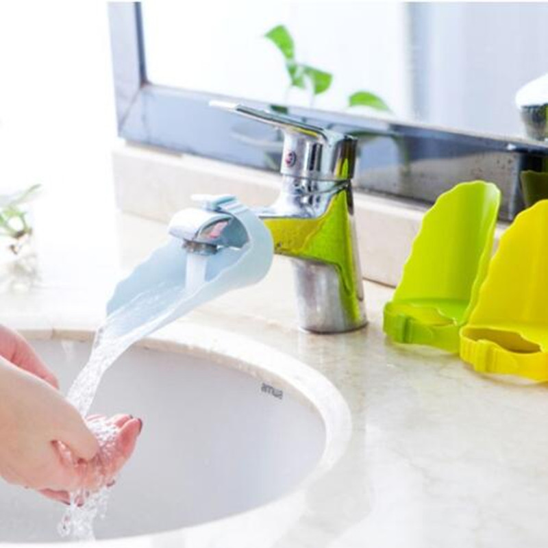 Kitchen Silicone faucet Extension Guide Kids Washing Device water ...