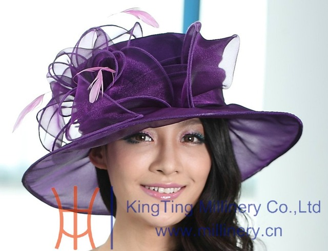 Free Shipping Hot New Arrival Women Organza Hat For Church Fresh Design Women Hat Organza Wedding Dress Hat Pink Purple Colors