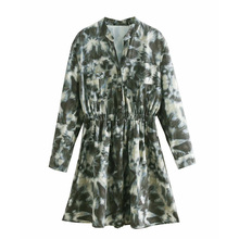 Summer Women Long Sleeve Dress Baggy Stand Short Mini Mid-Calf Length Elastic Waist Sprning Vintage Sundress