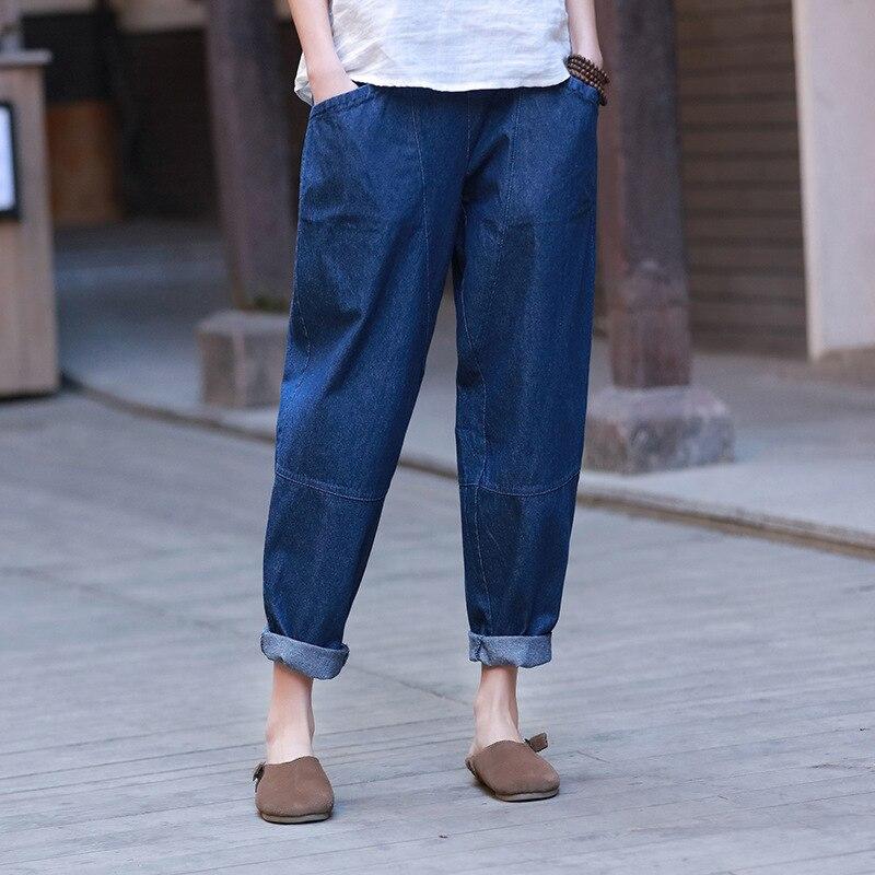 Patchwork Denim Pants Pockets Women Elastic Waist Trouser Spring New Solid Color Casual Women Straight Pants