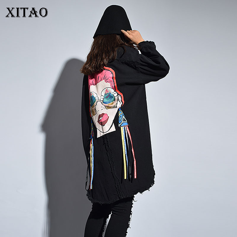 [XITAO] Europe 2018 New Street Autumn Women Hole Cartoon Print Patch Designs Turn-Down Collar Full Sleeve Loose   Trench   LJT3909