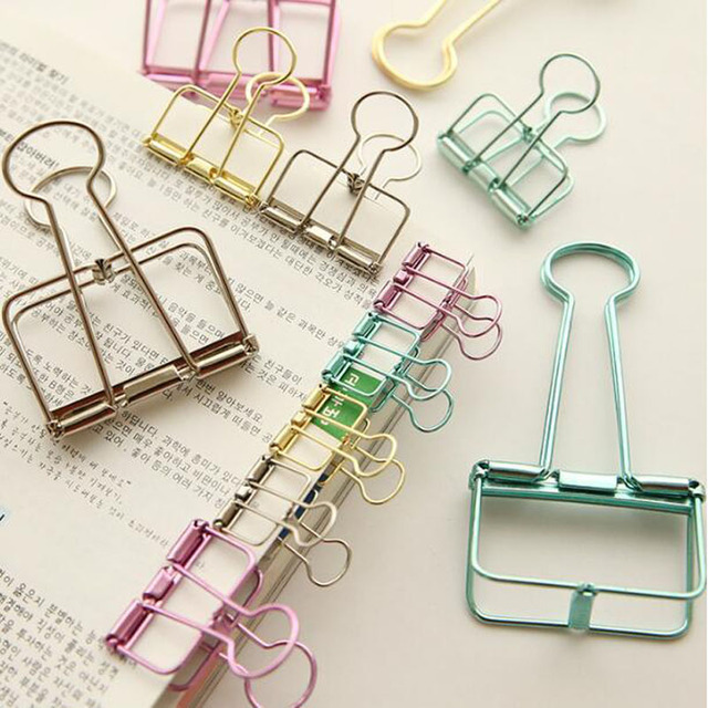 5pcs/lot Gold Rose Red Pink Paper Clips De Papel Notes DIY Bookmark Office School & Office Supplies Binder