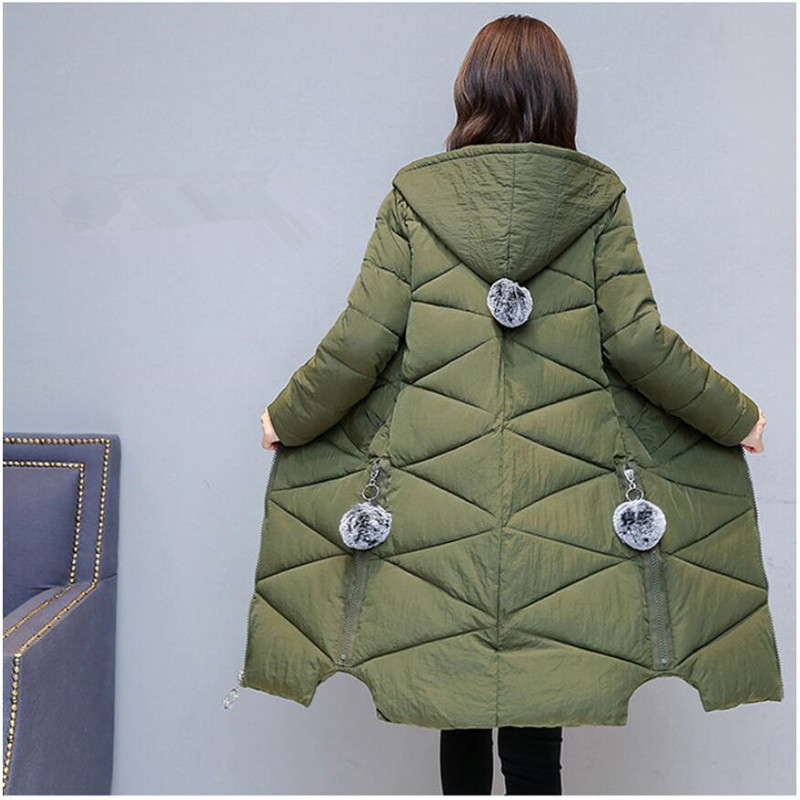 2019 Winter coat Women Cotton Jacket New Style Fashion Hooded Thickening Warm Mid-long Coat Loose Large size Female   Parkas   G173