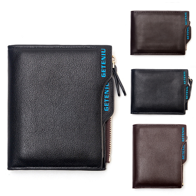 Fashion Men Soft Leather Business Short Wallet Male Folded Vintage Design Quality Zipper Purse With Card Holder Coin Pocket Bag