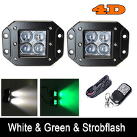 Pair 24W 4D Lens Double Color Switched Led Flush Mount Work Light Cube White Green White