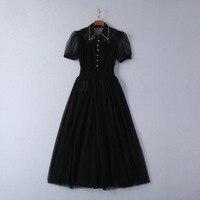 Brand new 2019 summer runways diamonds polka dot dress Fashion women's black dress A493