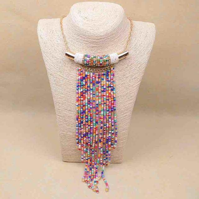 collier ethnique/collares etnicos/Kpop handmade beaded tassel chocker ethnic necklaces/2016 vintage accessories/wholesale/boheme