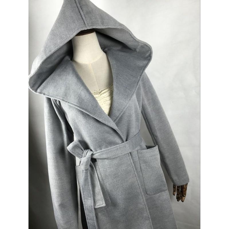 Femmes Manteau À Capuchon de Laine Manteau Avec Ceinture Casual Mince Outwear Veste Femelle Tranchée Manteau D'hiver Coupe-Vent Plus La Taille S-2XL