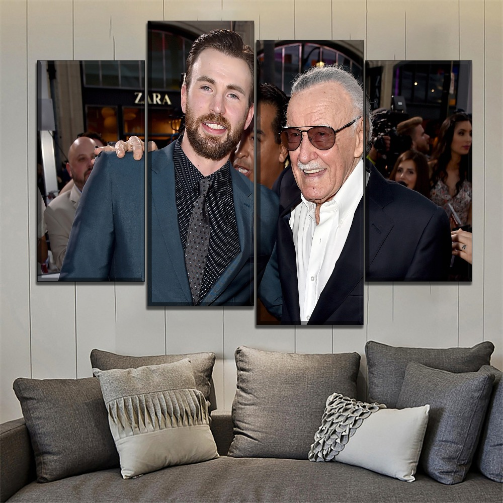 One Set 4 Piece Canvas Art Print Type Captain America Chris Evans And Stan Lee Poster Modern Artwork Bedroom Wall Decorative