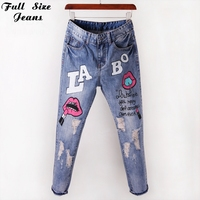 New Design Chinese Red LIPS Printed Embroidered Flares Jeans Plus Size Loose Ripped Capris Jeans Boyfriend