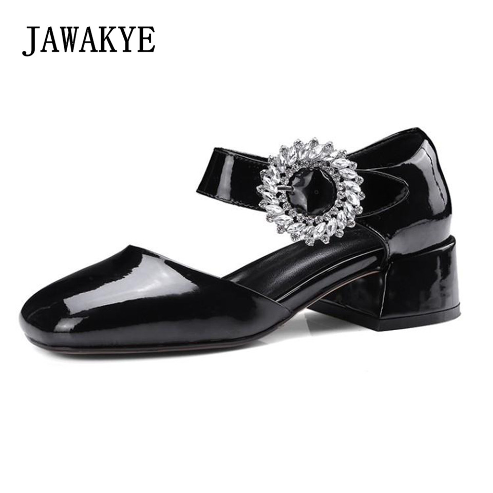 JAWAKYE Patent Leather buckle strap women pumps Shoes Woman Square toe rhinestone buckle ladies kitten low heel Party Shoes hanbaidi sexy patent leather women pumps luxury rhinestone pointed toe buckle strap women high heel sansals sandalias mujer 2018