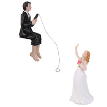 Romantic Wedding Cake Toppers Bride and Groom Figurines Funny Casamento Wedding Cake Toppers Stand Topper Decorating Supplies