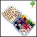 DIY set box of  baby nursing accessory wooden rings crochet beads baby Nursing necklace, teething jewelry finding making WC063