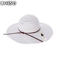 BHESD 2017 Yeni Katlanabilir Kenarlı Hasır Şapka Kadın Yaz Hasır Şapkalar Kadın Moda Hollow Plaj Güneş Şapka Kemik Casquettes ZXM-JY-64