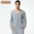 Qianxiu Pijamas V-cuello de Algodón de manga Larga Salón desgaste Parejas Pijamas set For Men