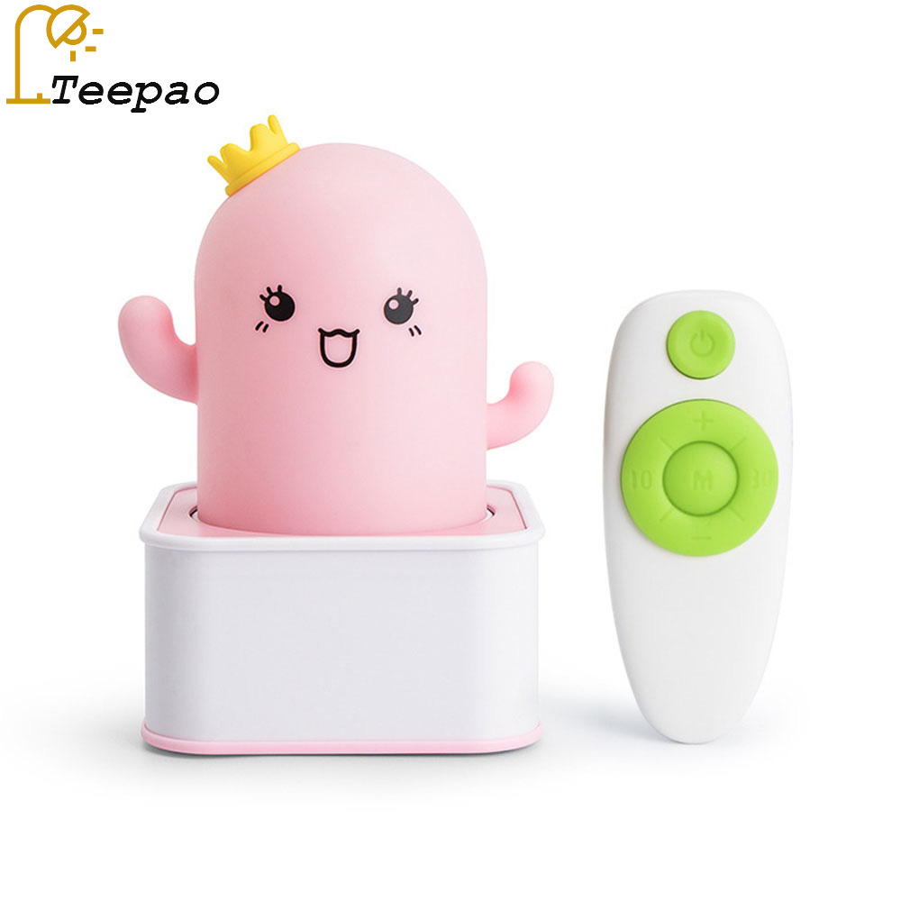Creative cactus silica gel night light USB charging LED bedroom remote control bedside night table lamp children cartoon touching led usb charging bedside night light