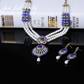 Vintage Turkey Unique Crystal Antique Gold Hollow Out Design Statement Pearl&Crystal Necklace Earrings 3Color Jewelry Set