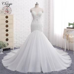 Wedding-Dresses Bridal-Gowns Train Mermaid Appliques Sweetheart Chapel New China Tulle