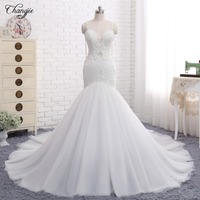 New Arrival New Mermaid Wedding Dresses 2018 Sweetheart Spaghetti Strap Chapel Train Appliques Tulle China Bridal Gowns