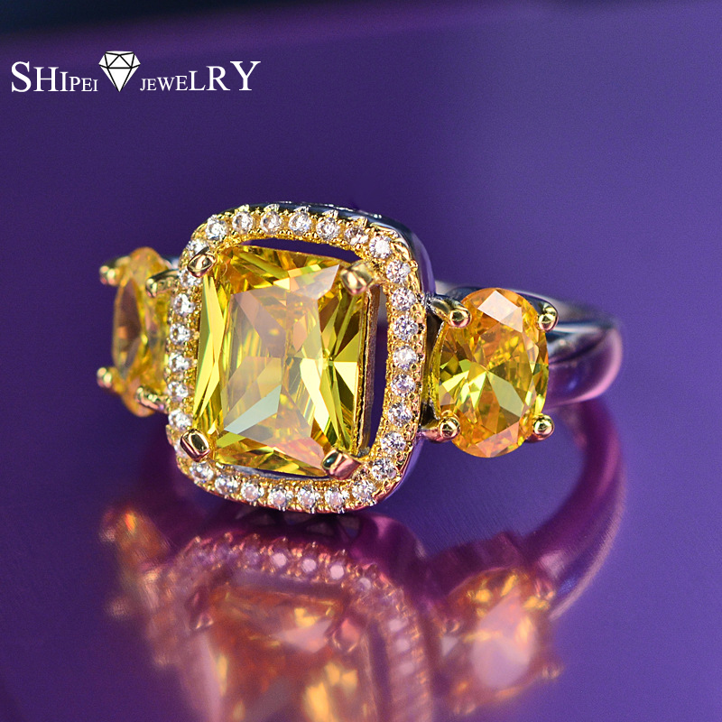 New SHIPEI Elegant and Luxury Cubic Zirconia Drill Ring Fashion Yellow Square Crystal for Women