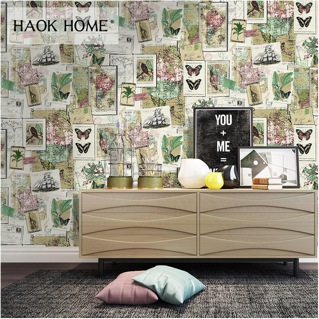 HaokHome Vintage World Map Wallpaper Self Adhesive Cream Mulit Peel and Stick Contact paper living room Bedroom home decor