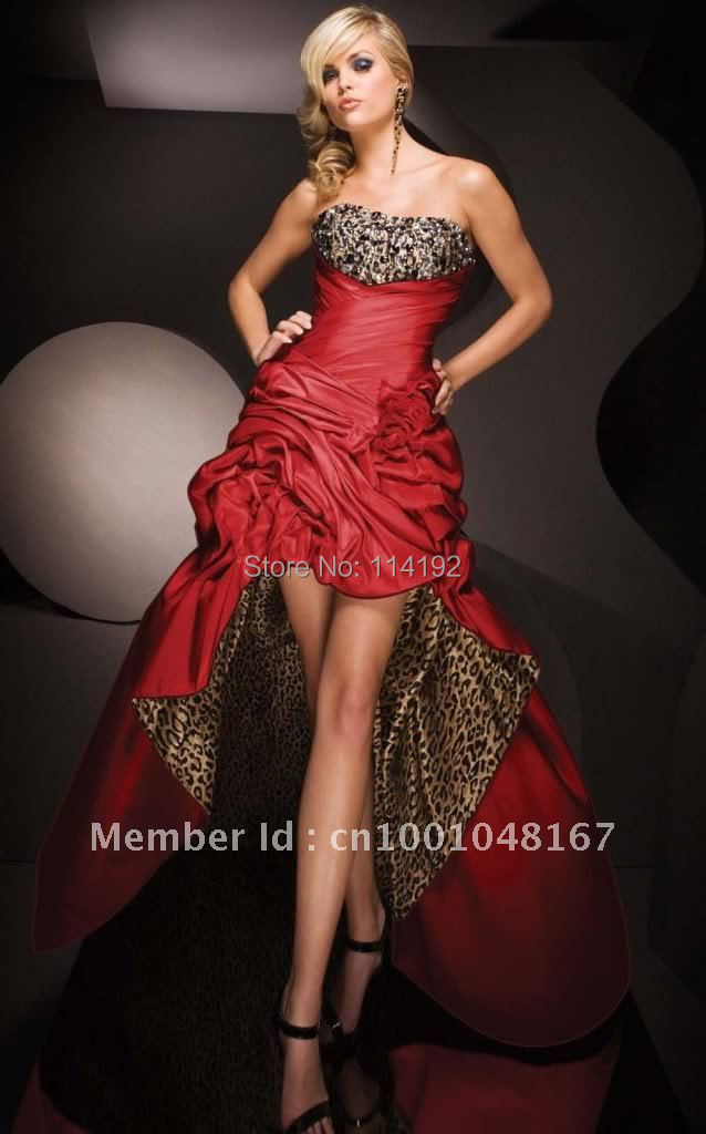 Stock Strapless Beading Ruffled Ladies' Sexy Cocktail Dresses 2014 New Arrival Red High Low Cocktail Gowns Size 6 8 10 12 14 16