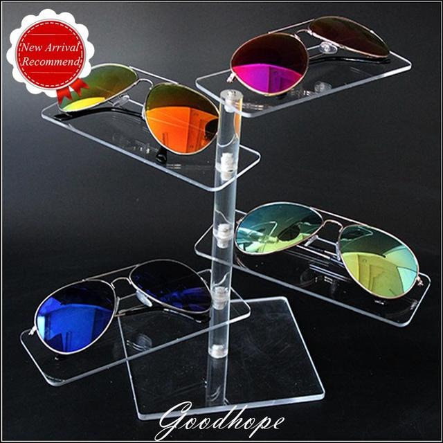 8988186b389 New Style Super White Clear Acrylic 4 Pairs Glasses Display Trays Sunglasses  Show Holder Plastic Stand Rack Frame Organizer Case