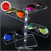 Yeni Stil Süper Beyaz Şeffaf Akrilik 4 Pairs Gözlük Ekran Tepsiler Güneş Göster Tutucu Plastik Standı Raf Çerçeve Organizatör Vaka