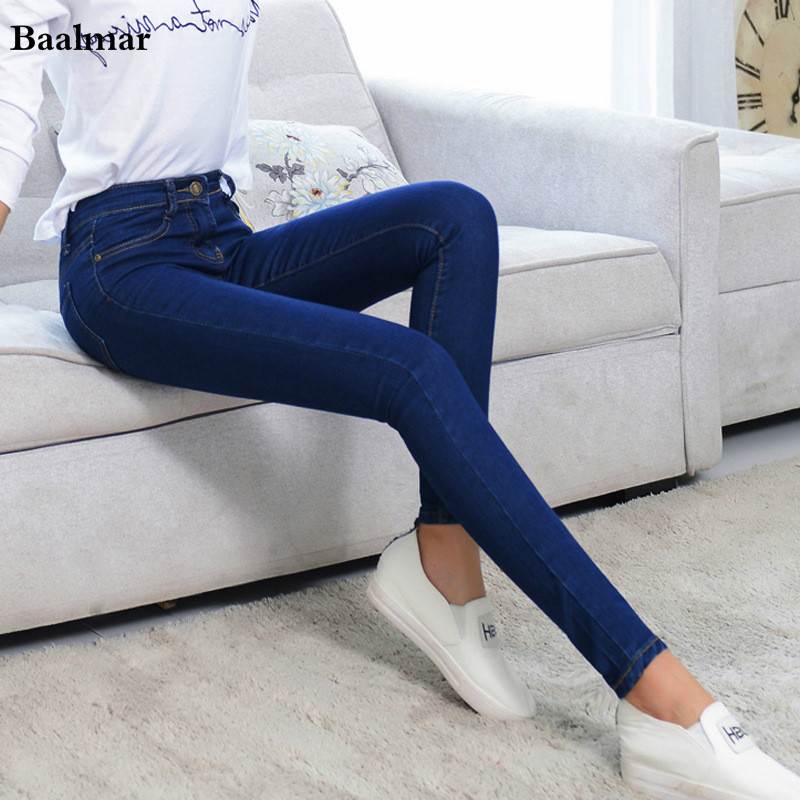 Jeans Femme Women Skinny Jeans Fashion Pencil Pants Denim Strech Blue Black Hole Ripped Mid Waist