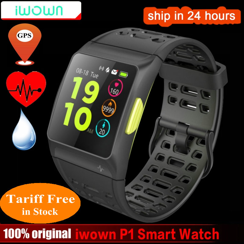 Iwownfit iwown P1 Relógio Inteligente de detecção de Freqüência Cardíaca ECG análise da VFC embutido GPS IPS tela colorida Vários modos de esportes Pulseira