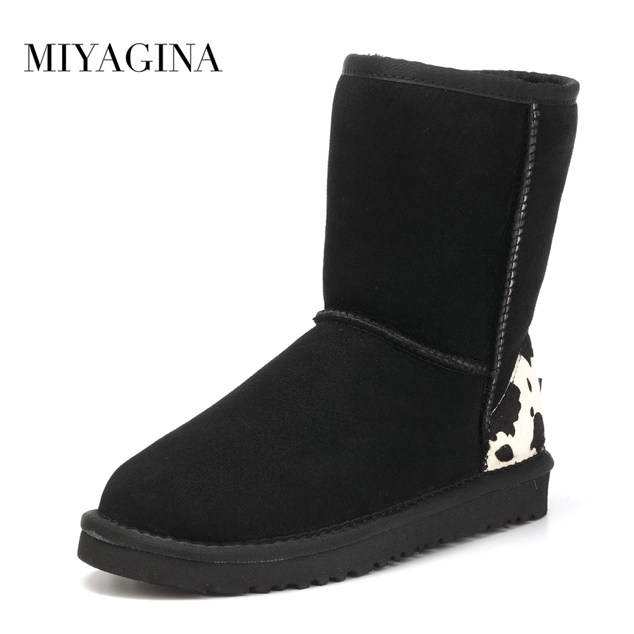 MIYAGINA Top Quality New Fashion Genuine Sheepskin Leather Real Fur Wool Women Snow boots Brand Winter Shoes Free Shipping