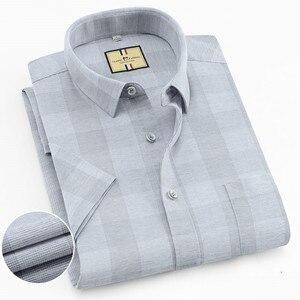 Image 1 - เนื้อหาผ้าฝ้ายแขนสั้นฤดูร้อนสบายธุรกิจผู้ชายลายสก๊อตลำลองเสื้อปกติFitเปิดลงปก