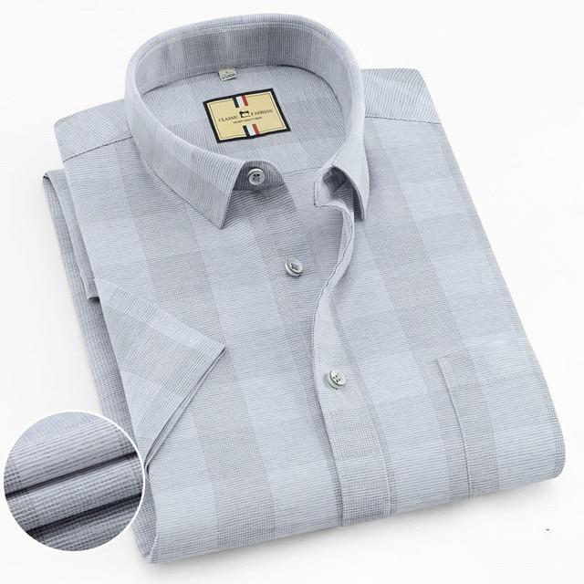 เนื้อหาผ้าฝ้ายแขนสั้นฤดูร้อนสบายธุรกิจผู้ชายลายสก๊อตลำลองเสื้อปกติFitเปิดลงปก