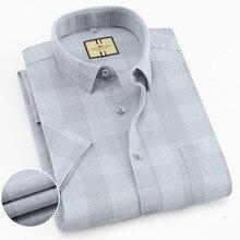 Camiseta casual Lisa a cuadros para hombre de negocios, cómoda, de manga corta, de algodón y de gran contenido, con cuello camisero regular fit