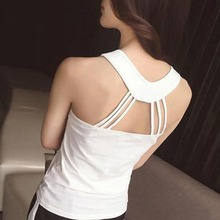 Summer O-Neck Back Crisscross Halter Vest Tee Top Women Girl Solid Casual Slim Sexy Beauty Back Tank Top Cut Out Bustier Camis cut out handkerchief tank top