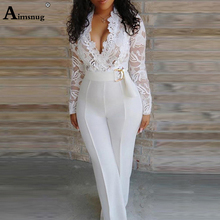 2019 New Women Elegant Lace Sexy V-Neck Slim Fit Outfit Patchwork Crochet Plunge Eyelash Lace Bodice Insert Jumpsuit One Piece